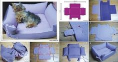 DIY Dog Bed with Sides:  Simple, pictorial instructions.  Adjust size to your pup!