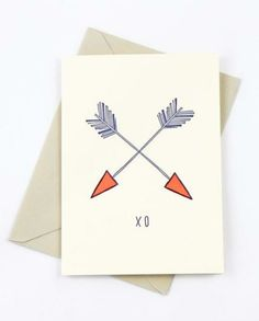 Send some x & o's to the sweetheart on your list with this Love Arrows Card <3 $4.50 www.mooreaseal.com