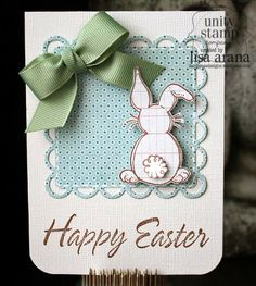 The soft blue and green of this handmade Easter card are really great.  The fluffy bunny tail has been popped up for added dimension.