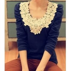 lace tops, cloth, style, shirts, dress, collars, pretti, blues, flower