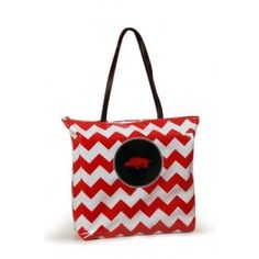 pig sooie, colleges, arkansas razorbacks, chevron print, shopper tote