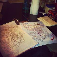 Koi fish tattoo designs.  #tattoo #tattoos #ink #inked  Photo by thetattoobaby