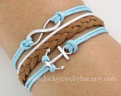 anchors, cord bracelet, braids, braceletbraid leather, braceletanchor bracelet