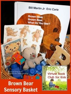 sensory books, brown bear what do you see, preschool bears, book clubs, sensori basket, kid