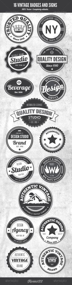 Vintage Style Badges and Logos $6.00