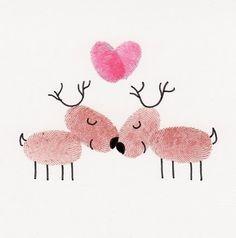 Reindeer fingerprint art