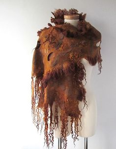 Felted scarf - Brown | Flickr - Photo Sharing! #felted #scarf #handdyed #brown #raw #wool #locks #curly