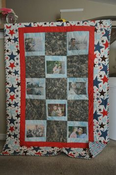 Daddy quilt made with one of his uniforms. Great for Deployment, this one is a little faded from years of love. :) Need to make one for Miss Paige too