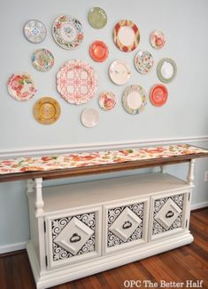 Beautiful buffet & plate wall!
