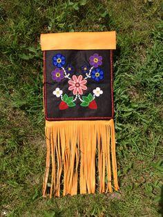 Ojibwe floral purse with fringe I made 2013 made by Jessica Gokey