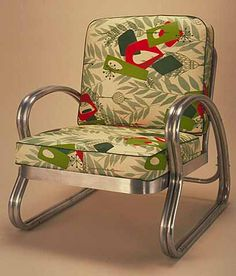 I used to have these two bamboo-frame chairs I rescued from a curb. I wanted to reupholster them in a fantastic tiki/midcentury barkcloth like this, but I accidentally left them in the basement of my old apartment building when I moved :(