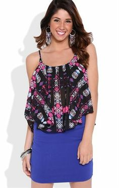 Deb Shops Flowy Tribal Print Tank Top with Lining $14.25