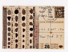 "Postcard by artist Lenore Tawney, from her book "" Signs on the Wind: Postcard Collages"" #mailart #postcard"