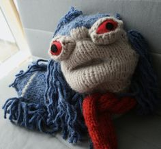 """""""Allo."""" Everyone, Swampy's knitted The Worm from Labyrinth... pattern included! http://wp.me/pjlln-2du #labyrinth #knit #pattern #knithacker"""