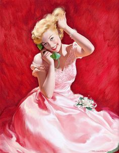 So very, very pretty in pink! #vintage #art #pinup #Robert_G_Harris #pink #1950s #dress #phone