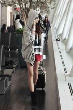 Transit Asian style. Love this hoodie with shorts and ankle boots! -Lily