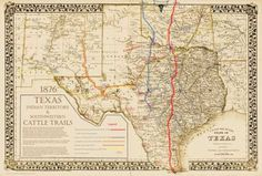 1876 Great Texas Cattle Trail Map