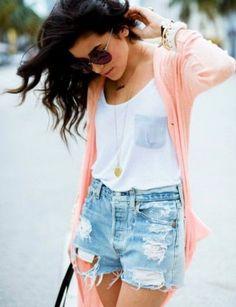 Distressed shorts + white tank + pendant necklace + cardigan
