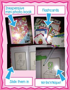 Easy #DIY Write n Wipe Activities made out of a dollar store photo book and flash cards.