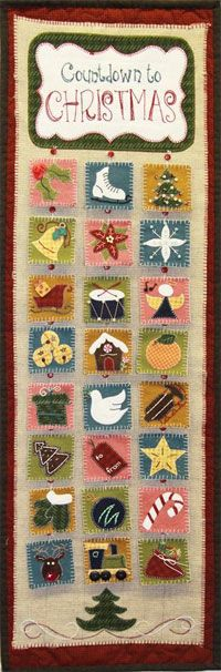Countdown To Christmas Advent Style Quilting Pattern by Patchabilities at KayeWood.com. Pattern is written with easy to follow directions for your quilting skill level. Don't be intimidated, all applique stitching was done by machine and instructions are included for all hand embroidery stitches used to create the cute holiday squares. http://www.kayewood.com/item/Countdown_To_Christmas_Quilting_Book/3657 $9.00