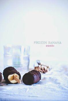 frozen chocolate banana popsicles..