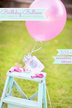 Birthday Balloon gift idea + printables