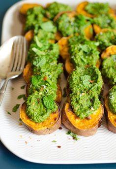 Recipe: Roasted Sweet Potato Slices with Cilantro Pesto
