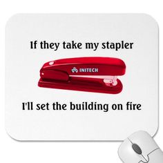 Office Space Stapler Mouse Pad by Zerotees
