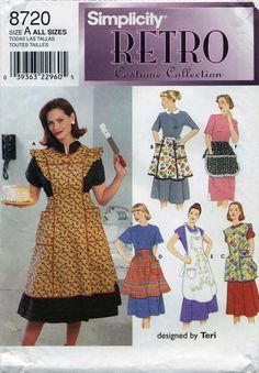 Retro Vintage Apron Sewing Pattern | Simplicity 8720 | Year 1999 | All Sizes Bust 32½-42 | Waist 25-34 costum collect, aprons, simplic retro, apron sew, apron patterns, sew pattern, retro apron, simplic 8720, sewing patterns