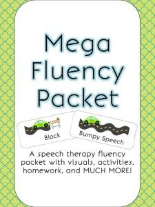 Speechy Musings: A huge fluency packet for speech therapy filled with visuals, homework, activities, and more!