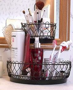 bathroom organization/idea for using vintage hanging fruit baskets (remember them from my grandparents house) to store products away in. So no cabinet or floor clutter?