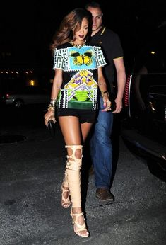 Rihanna rocked a pair of Tom Ford nude, over-the-knee gladiator sandals while out dining in NYC #OTK