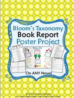 Bloom's Taxonomy Book Report Poster Project for ANY Novel (student independent reading or class novel)