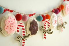 candy cane and cookie felt garland