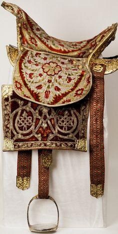 Saddle, Ottoman silk, velvet, gems. Russia, 17th century. ©Moscow Kremlin Museum