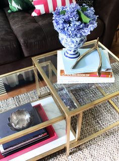 Vittsjo table spray painted with Rustoleum's metallic gold spray paint   the HUNTED INTERIOR: Ikea Coffee Table Makeover + Fab Rug Review