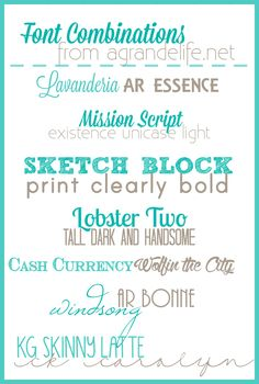 Free Font Combinations  ~~ {14 free fonts w/ links}