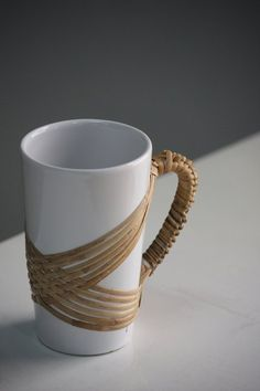 Handcrafted mugs with rattan weaving