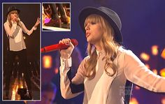 White shirt with black stripes and red glitter oxfords on X-Factor USA – November 2012