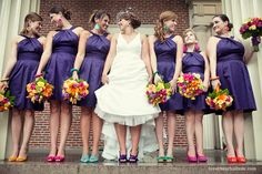 Dessy's alfred sung dresses and colorful wedding shoes, fun colored wedding shoes, wedding shoe inspiration, purple bridesmaids dress, colorful wedding flowers. Dresses by