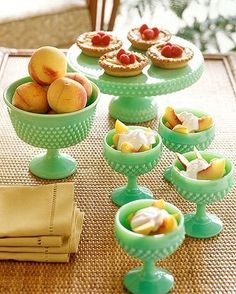 """so, ok...I might be a little in love with Jadeite milk glass. This just screams """"FILL ME WITH FRESH PEACH COBBLER!!!"""""""
