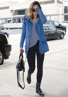 Family affair: Even Kylie Jenner turned up - following Kourtney in a blue outfit - for the trip to Miami Airport, Kylie Jenner Outfits, Denim Jacket