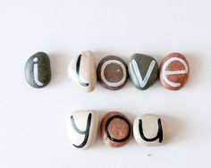 8 Magnets Letters Custom Name Beach Pebbles by HappyEmotions, $15.00