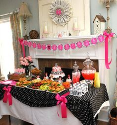 Barbie Theme Party Food Table (The dolls in the mini cakes freak me out, though.  We'll be excluding those!)