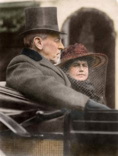 March 5, 1917. Woodrow Wilson and his wife Edith Bolling Wilson riding in the backseat of a carriage on their way to his second inauguration...