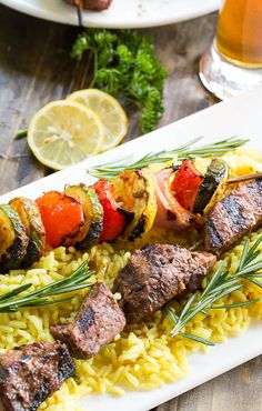 Grilled Beef Kabobs with Lemon and Rosemary Marinade