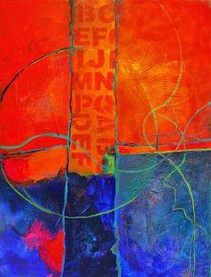 """Rumors mixed media abstract painting © Carol Nelson"