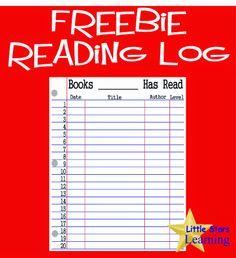 Little Stars Learning: FREEBIE Reading / Book Log