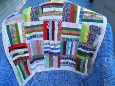 Quilt hand made OOAK w fabric scraps rainbow by PillowtasticPlus, Sold