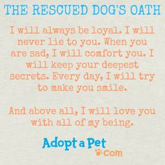 The Rescued Dog's Oath. www.adoptapet.com
